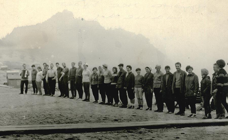 Советские туристы перед походом